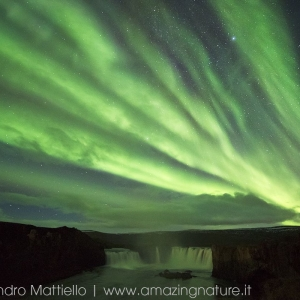 Godafoss waterfall e Aurora Boreale